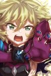1girl blonde_hair carol_malus_dienheim elbow_gloves gloves green_eyes looking_at_viewer mole mole_under_eye murakami_hisashi open_mouth outstretched_arm ribs senki_zesshou_symphogear shiny shiny_hair shiny_skin short_hair side_cutout sideless_outfit solo teeth