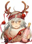 1girl ahoge antlers bangs blush bottle brown_eyes christmas_ornaments eyelashes fur_collar g11_(girls_frontline) girls_frontline grey_hair hair_between_eyes holding holding_bottle long_hair messy_hair moa_(21energy12) open_mouth ribbon scarf scarf_on_head simple_background solo twitter_username upper_body white_background