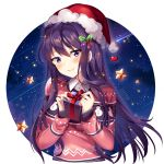 1girl artist_name bangs blush box breasts christmas closed_mouth collared_shirt commentary doki_doki_literature_club english_commentary eyebrows_visible_through_hair fur-trimmed_hat gift gift_box hair_between_eyes hat highres holding holding_gift long_hair long_sleeves print_sweater purple_hair red_headwear red_sweater santa_hat shirt sleeves_past_wrists small_breasts smile snowman_print solo squchan star sweater upper_body very_long_hair violet_eyes watermark web_address white_shirt yuri_(doki_doki_literature_club)