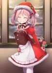 1girl apron arms_behind_back bangs blush breasts christmas closed_eyes commentary_request dress eyebrows_visible_through_hair fur_trim gift grin hair_bobbles hair_ornament hat holding holding_gift indoors kantai_collection long_sleeves mofu_namako pantyhose pink_hair puffy_long_sleeves puffy_sleeves rabbit red_dress santa_hat sazanami_(kantai_collection) small_breasts smile snow solo white_apron white_legwear window