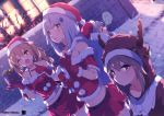 404_(girls_frontline) 4girls animal_costume antlers brick_wall christmas g11_(girls_frontline) girls_frontline hat highres hk416_(girls_frontline) katuo1129 multiple_girls reindeer_antlers reindeer_costume sack santa_costume santa_hat sleeping smile snowing strapless ump45_(girls_frontline) ump9_(girls_frontline)