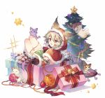 1girl :d animal_ears bangs bauble boots box capelet christmas christmas_ornaments christmas_tree claw_(weapon) detached_sleeves ears_through_headwear entangled erune fur-trimmed_boots fur-trimmed_capelet fur-trimmed_hood fur-trimmed_sleeves fur_trim gift gift_box granblue_fantasy grey_hair hair_between_eyes hood hood_up hooded_capelet in_box in_container knees_up looking_at_viewer looking_to_the_side miniskirt open_mouth plant potted_plant red_capelet red_eyes red_footwear red_hood rug sen_(granblue_fantasy) silver_hair skirt smile soriya sparkle star striped tassel tinsel weapon white_background yarn yarn_ball