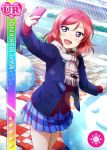 blush character_name jacket love_live!_school_idol_festival love_live!_school_idol_project nishikino_maki redhead scarf short_hair smile violet_eyes