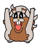 :d animal arms_up bkub commentary full_body greedent looking_at_viewer open_mouth pokemon pokemon_(creature) pokemon_(game) pokemon_swsh simple_background smile solo squirrel standing upper_teeth white_background