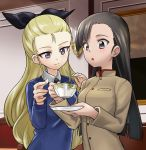 2girls :o aki_(makinoakira) assam asymmetrical_bangs bangs black_neckwear black_ribbon blonde_hair blue_eyes blue_sweater brown_eyes brown_hair brown_jacket chi-hatan_school_uniform closed_mouth commentary_request cup dress_shirt girls_und_panzer hair_pulled_back hair_ribbon high_collar holding holding_cup holding_saucer indoors jacket long_hair long_sleeves multiple_girls necktie nishi_kinuyo open_mouth partial_commentary ribbon saucer school_uniform shirt smile st._gloriana's_school_uniform sweater teacup v-neck white_shirt wing_collar
