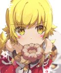 1girl bakemonogatari bangs bell blonde_hair blush blush_stickers churro commentary_request doughnut dress fang food food_in_mouth foreshortening highres holding holding_food looking_at_viewer merry_christmas monogatari_(series) mouth_hold ogipote oshino_shinobu pon_de_ring red_dress snowflakes solo yellow_eyes
