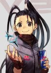 1girl antenna_hair black_eyes black_hair caltrops can closed_mouth energy_drink fingerless_gloves gloves grey_background hair_ornament hands_up hankuri high_ponytail holding holding_can hood hood_down hoodie ibuki_(street_fighter) long_hair looking_at_viewer ninja ponytail product_placement red_bull red_gloves smile solo street_fighter street_fighter_v upper_body weapon zipper