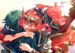 1boy 1girl alm_(fire_emblem) armor cape celica_(fire_emblem) closed_eyes dated earrings fingerless_gloves fire_emblem fire_emblem_echoes:_shadows_of_valentia fire_emblem_heroes from_behind gloves green_hair hand_on_another's_head headpiece hug jewelry long_hair misu_kasumi open_mouth redhead short_hair