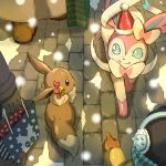 bag bell black_gloves black_hair blue_eyes bow brick_floor brown_eyes child closed_mouth commentary_request delibird earmuffs eevee from_above gen_1_pokemon gen_2_pokemon gen_6_pokemon gen_8_pokemon gloves hat holding holding_bag long_sleeves looking_at_another matsuri_(matsuike) orange_gloves outdoors people pointing pokemon pokemon_(creature) santa_hat shopping_bag smile snom snow snowing striped striped_bow sylveon winter