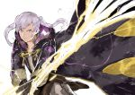 1girl closed_mouth fire_emblem fire_emblem_awakening gloves highres holding holding_sword holding_weapon hood hood_down long_sleeves robin_(fire_emblem) robin_(fire_emblem)_(female) simple_background solo sword twintails weapon white_background white_hair yrfreakyneighbr
