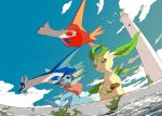 4others apios1 black_eyes blue_sky brown_eyes clouds dutch_angle fisheye head_fins highres latias latios leafeon lighthouse looking_down mermaid monster_girl moss multiple_others open_mouth pokemon sky smile split_tail stone_floor vaporeon water wingull yellow_eyes