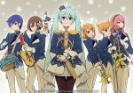 1other 2boys 4girls aqua_eyes aqua_hair band_uniform bangs beamed_sixteenth_notes black_legwear blonde_hair blue_eyes blue_hair blue_jacket bow brown_eyes brown_hair closed_mouth commentary_request crypton_future_media drum drumsticks eighth_note epaulettes feet_out_of_frame flute french_horn gloves gold_trim hair_bow hair_ornament hairband hairclip hat_feather hatsune_miku holding holding_drumsticks holding_instrument horn_(instrument) instrument jacket japanese_clothes kagamine_len kagamine_rin kaito long_hair looking_at_viewer megurine_luka miko multiple_boys multiple_girls musical_note official_art one_eye_closed open_mouth pants pantyhose piapro pink_hair pleated_skirt rabbit_yukine saxophone short_hair short_ponytail skirt smile snowflakes snowing sohin spiky_hair standing swept_bangs tassel trombone trumpet twintails very_long_hair vocaloid white_bow white_gloves white_pants white_skirt yuki_kaito yuki_len yuki_luka yuki_meiko yuki_miku yuki_miku_(2020) yuki_rin