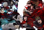 4boys 5girls ahoge black_bow black_gloves black_hair black_haori black_scarf bow brown_hair buttons cape chacha_(fate/grand_order) closed_mouth crying crying_with_eyes_open dark_skin fate/grand_order fate_(series) fighting gloves hair_bow hat hiiragi_fuyuki hijikata_toshizou_(fate/grand_order) holding holding_sword holding_weapon jacket japanese_clothes kimono long_hair long_sleeves looking_at_another military military_uniform multiple_boys multiple_girls oda_nobukatsu_(fate/grand_order) oda_nobunaga_(fate) oda_nobunaga_(fate)_(all) okada_izou_(fate) okita_souji_(alter)_(fate) okita_souji_(fate) okita_souji_(fate)_(all) open_mouth oryou_(fate) peaked_cap red_cape red_eyes redhead sakamoto_ryouma_(fate) scarf school_uniform short_hair sidelocks simple_background smile sword tears teeth uniform weapon white_background white_gloves white_hair white_headwear white_jacket