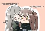 00nowhereman 2girls biting black_jacket brown_hair cheek_biting closed_eyes closed_mouth crying english_commentary english_text girls_frontline grey_hair jacket long_hair long_sleeves multiple_girls one_side_up simple_background twitter_username ump40_(girls_frontline) ump45_(girls_frontline) yellow_eyes