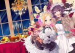2girls :d abigail_williams_(fate/grand_order) animal apple apron banana bangs black_dress blonde_hair blue_eyes blush bread brown_jacket butterfly_hair_ornament candle candlestand collared_dress commentary_request dress fate/grand_order fate_(series) fire flower food fruit grapes green_apple hair_ornament heroic_spirit_festival_outfit holding holding_tray indoors jacket katsushika_hokusai_(fate/grand_order) long_sleeves maid_headdress multiple_girls night night_sky octopus open_clothes open_jacket open_mouth parted_bangs pink_flower purple_flower purple_hair red_apple shirt sidelocks sky sleeveless sleeveless_dress sleeves_past_fingers sleeves_past_wrists smile star_(sky) starry_sky stuffed_animal stuffed_toy teddy_bear ten-chan_(eternal_s) tokitarou_(fate/grand_order) tray turkey_(food) white_apron white_shirt window