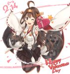 1girl ;d ahoge armpits box brown_eyes brown_hair collarbone dated detached_sleeves double_bun fang gift gift_box heart-shaped_box ido_(teketeke) jumping kantai_collection kongou_(kantai_collection) long_hair looking_at_viewer machinery nontraditional_miko one_eye_closed open_mouth pleated_skirt ribbon-trimmed_sleeves ribbon_trim simple_background skirt smile solo thigh-highs turret valentine white_background