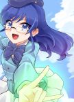 1girl aikatsu! aikatsu!_(series) b.a.b.e.l._uniform beret blazer blue_bow blue_eyes blue_hair bow cosplay glasses hat jacket kiriya_aoi long_hair matsuura_asuka namesake nogami_aoi nogami_aoi_(cosplay) skirt white_skirt zettai_karen_children