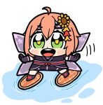 1girl :d ahoge alternate_costume bike_shorts bkub bob_cut boots chibi commentary dot_nose floating flower gloves green_eyes hair_flower hair_ornament headband honma_himawari japanese_clothes legs_apart nijisanji ninja obi open_mouth orange_hair outstretched_arms sash shuriken simple_background smile solo standing sunflower_hair_ornament upper_teeth water white_background