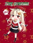 1girl bangs black_gloves black_legwear black_skirt blonde_hair blush breasts brown_footwear capelet chibi christmas dagappa english_text eyebrows_visible_through_hair fang fingerless_gloves gloves hair_flaps hair_ornament hair_ribbon hat highres kantai_collection merry_christmas open_mouth pleated_skirt red_background red_eyes red_headwear remodel_(kantai_collection) ribbon santa_hat scarf school_uniform serafuku skin_fang skirt socks solo speech_bubble standing star white_scarf yuudachi_(kantai_collection)
