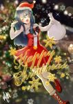 1girl blue_eyes blue_hair blush boots cute english_commentary eva02asuka0608 fire_emblem fire_emblem:_kakusei fire_emblem_awakening heart intelligent_systems long_hair lucina lucina_(fire_emblem) nintendo one_eye_closed parted_lips red_dress ribbon santa_costume santa_hat snowflakes solo sparkle super_smash_bros. wink