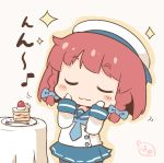 1girl :3 blue_neckwear blue_sailor_collar blue_skirt blush braid closed_eyes commentary_request eighth_note etorofu_(kantai_collection) eyebrows_visible_through_hair food fork fruit gloves hanomido hat kantai_collection long_sleeves motion_lines musical_note pleated_skirt redhead sailor_collar sailor_hat school_uniform serafuku short_hair signature skirt smile solo strawberry strawberry_shortcake twin_braids white_gloves white_headwear