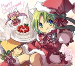>_< 3girls :d animal_ears blue_eyes blush brown_eyes brown_hair capelet cat_ears chibi closed_mouth commentary dated dejiko di_gi_charat dress food fur_trim gema green_eyes green_hair hat highres holding holding_cake holding_food koge_donbo looking_at_viewer merry_christmas multiple_girls official_art open_mouth pink_hair puchiko rabbit_ears red_dress sack santa_costume santa_hat short_hair signature simple_background smile strawberry_shortcake tongue tongue_out twintails usada_hikaru watermark white_mittens xd