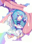 1girl :p bangs blue_capelet blue_eyes blue_hair blue_skirt blush capelet commentary_request eyebrows_visible_through_hair frilled_capelet frills hair_between_eyes hand_up heart heterochromia highres holding holding_umbrella kyouda_suzuka long_sleeves pink_eyes purple_umbrella rainbow shirt skirt solo tatara_kogasa tongue tongue_out touhou umbrella white_shirt