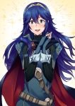 1girl ameno_(a_meno0) belt black_sweater blue_cape blue_eyes blue_gloves blue_hair blush breastplate buckle cape commentary_request eyebrows_visible_through_hair fingerless_gloves fire_emblem fire_emblem_awakening floating_hair gloves hair_between_eyes hair_ornament lips long_hair looking_at_viewer lucina_(fire_emblem) multicolored multicolored_cape multicolored_clothes open_mouth red_cape ribbed_sweater shoulder_armor simple_background smile solo sweater teeth tiara turtleneck turtleneck_sweater