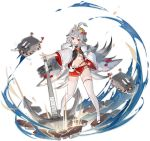 1girl :d ahoge anchor azur_lane bandages bell fur_collar gradient_hair grey_hair hair_ornament hand_on_hip haori hibiki_(azur_lane) highres japanese_clothes jingle_bell kouhaku_nawa long_hair long_sleeves looking_at_viewer midriff miniskirt multicolored_hair navel official_art ootsuki_momiji open_clothes open_mouth outstretched_arm pleated_skirt red_eyes red_skirt rope sarashi shide shimenawa skirt smile solo thigh-highs torpedo_launcher transparent_background turret very_long_hair white_legwear wide_sleeves zouri