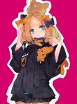 1girl abigail_williams_(fate/grand_order) absurdres bandaid_on_forehead bangs black_bow black_jacket blonde_hair blue_eyes blush bow crossed_bandaids fate/grand_order fate_(series) forehead grandialee hair_bow hair_bun hands_up heroic_spirit_traveling_outfit high_collar highres jacket long_hair long_sleeves looking_at_viewer multiple_bows orange_belt orange_bow parted_bangs pink_background simple_background solo stuffed_animal stuffed_toy teddy_bear