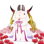 animal closed_mouth cosplay detached_sleeves dress facial_mark fate/extra fate/extra_ccc fate_(series) flower full_body headdress horns lilac_(p-f_easy) long_hair long_sleeves looking_at_viewer no_humans pink_ribbon rabbit red_flower ribbon sesshouin_kiara simple_background solo spider_lily standing tassel tattoo white_background white_dress wide_sleeves yellow_eyes
