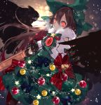 1girl arm_cannon bangs bell bow breath brown_hair christmas_ornaments commentary_request fur_collar green_bow green_skirt hair_between_eyes hair_bow highres layered_skirt long_hair looking_at_viewer red_bow red_eyes reiuji_utsuho shirt short_sleeves signature skirt snowflakes solo star touhou toutenkou weapon white_shirt