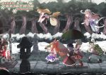 6+girls apron bag bare_shoulders bat_wings black_dress black_hair black_legwear blonde_hair blue_dress blue_hair boots braid broom chain dress frills ghost gourd green_dress hairband hakurei_reimu hat headdress horns ibuki_suika izayoi_sakuya japanese_clothes kirisame_marisa konpaku_youmu konpaku_youmu_(ghost) long_sleeves maid_headdress mob_cap multiple_girls nontraditional_miko orange_hair pink_hair remilia_scarlet saigyouji_yuyuko sash scarf silver_hair snow stone_lantern striped striped_legwear sunyup sword tears touhou tree umbrella weapon white_hair wings witch_hat