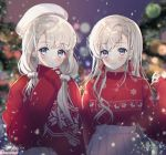2girls artist_name bangs beret blue_eyes blurry blush bokeh bow bow_earrings braid chii_(nyaong9) christmas commentary_request depth_of_field expressionless grey_hair hat hisakawa_hayate hisakawa_nagi idolmaster idolmaster_cinderella_girls idolmaster_cinderella_girls_starlight_stage long_hair long_sleeves looking_at_viewer multiple_girls night outdoors plaid plaid_bow pleated_skirt pom_pom_(clothes) print_sweater red_bow red_sweater reindeer_print siblings side_braid sisters skirt sleeves_past_wrists smile snowflake_print snowing sparkle sweater twins upper_body white_headwear white_skirt