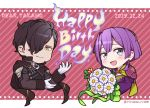 1boy 1girl bernadetta_von_varley black_hair closed_mouth dated earrings fire_emblem fire_emblem:_three_houses flower gloves grey_eyes hair_ornament hair_over_one_eye hiyori_(rindou66) hubert_von_vestra jewelry long_sleeves open_mouth purple_hair short_hair twitter_username upper_body white_gloves