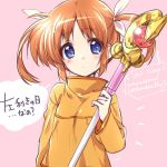1girl bangs blue_eyes closed_mouth commentary english_text eyebrows_visible_through_hair hair_ribbon highres holding holding_staff kuroi_mimei light_frown long_sleeves looking_at_viewer lyrical_nanoha mahou_shoujo_lyrical_nanoha notice_lines pink_background raising_heart ribbon shirt short_hair solo staff takamachi_nanoha translated twintails upper_body white_ribbon yellow_shirt