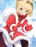1girl absurdres ahoge blonde_hair bloop blush breasts christmas commentary dress english_commentary fate/extra fate_(series) fur_trim garter_straps green_eyes hair_bun hair_intakes hat highres holding holding_sack huge_ahoge looking_at_viewer medium_breasts mittens nero_claudius_(fate) nero_claudius_(fate)_(all) open_mouth padoru red_dress red_headwear red_mittens sack santa_costume santa_hat short_hair snowflakes solo thigh-highs white_legwear