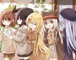5girls :d animal_ears animal_hat aran_sweater bangle bangs beanie beret black_dress black_headwear black_legwear black_skirt blonde_hair blue_eyes blue_hair blush bracelet brown_coat brown_eyes brown_hair brown_headwear brown_shorts brown_sweater closed_mouth coat collared_shirt dress eyebrows_visible_through_hair fake_animal_ears grey_jacket grey_shirt grey_skirt hair_between_eyes hair_ornament hand_on_another's_shoulder hat holding jacket jewelry long_hair long_sleeves multiple_girls necktie open_mouth orange_neckwear original parted_lips pennant pleated_skirt profile purple_hair shirt short_shorts shorts skirt sleeves_past_wrists smile string_of_flags sweater thigh-highs very_long_hair white_hair wide_sleeves x_hair_ornament yuuhagi_(amaretto-no-natsu)