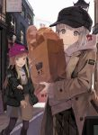 2girls alternate_costume bangs baseball_cap black_headwear black_jacket black_legwear blonde_hair blue_eyes bread brown_dress brown_jacket building commentary_request dress eyebrows_visible_through_hair fate_(series) food gray_(lord_el-melloi_ii) grey_eyes grey_hair hat highres holding jacket lamp long_sleeves looking_at_viewer lord_el-melloi_ii_case_files mocha_(mokaapolka) multiple_girls outdoors pantyhose pink_headwear reines_el-melloi_archisorte smile whtie_shirt
