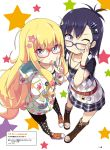 2girls adjusting_eyewear artist_name belt bespectacled blonde_hair blue-framed_eyewear blue_eyes blue_skirt boots bracelet brown_footwear candy collarbone food gabriel_dropout glasses hair_ornament hairclip hand_in_pocket highres hood hoodie jewelry lollipop long_hair long_sleeves multiple_girls necklace official_art one_eye_closed page_number purple_hair red-framed_eyewear red_footwear scan shoes short_hair short_sleeves skirt sneakers star star_hair_ornament star_necklace tenma_gabriel_white translation_request tsukinose_vignette_april ukami v very_long_hair violet_eyes