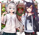 2girls absurdres animal_ear_fluff animal_ears bangs black_hair black_hoodie black_shorts blue_eyes blue_skirt box brick_wall brown_eyes brown_legwear christmas christmas_lights christmas_ornaments christmas_tree christmas_wreath collarbone commentary_request eyebrows_visible_through_hair fox_ears fox_girl fox_shadow_puppet fox_tail gift gift_box grey_shirt hair_between_eyes hair_ornament hand_up highres hololive hood hood_down hoodie huge_filesize legwear_under_shorts long_sleeves multicolored_hair multiple_girls namekuji_ojiichan ookami_mio pantyhose pennant pinching_sleeves pleated_skirt redhead shirakami_fubuki shirt short_shorts shorts silver_hair skirt sleeves_past_wrists streaked_hair string_of_flags tail virtual_youtuber white_hoodie wide_sleeves wolf_ears wolf_girl wolf_tail