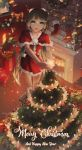 1girl aqua_eyes aqua_hair bow box capelet christmas christmas_lights christmas_ornaments christmas_stocking christmas_tree christmas_wreath commentary english_commentary fire fireplace foreshortening fur-trimmed_capelet fur-trimmed_skirt fur_trim gift gift_box happy_new_year hatsune_miku highres holding_star indoors long_hair looking_at_viewer merry_christmas new_year parted_lips red_capelet red_shirt red_skirt santa_costume shirt skirt sleeveless sleeveless_shirt smile standing star stepladder twintails very_long_hair vocaloid zakusey