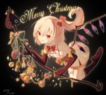 1girl :d absurdres ahoge alternate_costume bangs bare_shoulders bell black_background black_gloves black_legwear blonde_hair bow bowtie box candy candy_cane chinese_commentary commentary_request dated dress elbow_gloves eyebrows_visible_through_hair fang flandre_scarlet food gift gift_box gloves hair_between_eyes hair_bow hair_ornament highres holding jingle_bell kneehighs laevatein leg_garter long_hair looking_at_viewer merry_christmas no_hat no_headwear no_shoes one_side_up open_mouth pointy_ears red_bow red_eyes red_neckwear short_dress simple_background smile solo star star_hair_ornament touhou white_dress wings xue_xue