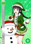 black_hair blush character_name christmas dress green_eyes kurosawa_dia long_hair love_live!_school_idol_festival love_live!_sunshine!!