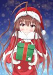 1girl ahoge baum blush box brown_eyes brown_hair christmas christmas_present eyebrows_visible_through_hair gift gift_box hat holding holding_gift incoming_gift kantai_collection kuma_(kantai_collection) long_hair looking_at_viewer merry_christmas red_ribbon ribbon santa_costume santa_hat smile solo