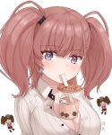 2girls atlanta_(kantai_collection) bendy_straw between_breasts breast_envy breasts brown_hair bubble_tea bubble_tea_challenge cup disposable_cup drinking drinking_straw drinking_straw_in_mouth earrings grey_eyes japanese_clothes jewelry kantai_collection large_breasts meme moon_ash multiple_girls object_on_breast ryuujou_(kantai_collection) star star_earrings twintails visor_cap