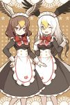2girls alternate_costume apron bald_eagle_(kemono_friends) bird_wings black_dress blonde_hair blush bow brown_eyes brown_hair commentary_request dress enmaided eyebrows_visible_through_hair frilled_dress frills gradient_hair hair_between_eyes hand_on_hip hand_on_own_chest head_wings highres japari_symbol kemono_friends kemono_friends_3 long_hair long_sleeves maid maid_apron maid_dress maid_headdress multicolored_hair multiple_girls nama014 northern_goshawk_(kemono_friends) one_eye_closed open_mouth pantyhose red_neckwear short_hair sleeve_cuffs white_apron white_frills white_hair white_legwear wings yellow_eyes