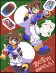 1boy 1girl :d aile bangs bell blue_footwear bracelet brown_hair green_eyes grin hair_between_eyes highres holding holding_sack jewelry nintendo_switch omeehayo open_mouth pants puffy_short_sleeves puffy_sleeves robot_ears rockman rockman_zx sack short_hair short_sleeves shorts smile vent white_pants white_shorts