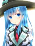 1girl black_headwear blue_eyes blue_hair blush choujigen_game_neptune collared_dress collared_shirt commentary_request dress expressionless hat highres long_hair looking_at_viewer mages. mole mole_under_eye necktie neptune_(series) niche-tan red_neckwear shirt simple_background solo upper_body very_long_hair white_background white_dress white_shirt witch witch_hat