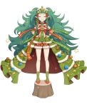 1girl armband bare_legs big_hair christmas christmas_lights christmas_tree christmas_tree_costume closed_eyes dress fire_emblem fire_emblem:_three_houses fire_emblem_heroes flat_chest full_body fur_trim gonzarez green_hair green_neckwear hair_ornament hands_on_hips highres long_hair pointy_ears red_footwear ribbon santa_costume shoes short_dress side_braids simple_background smirk solo sothis_(fire_emblem) sparkle standing star thighs tiara tree_stump very_long_hair wavy_hair white_background wristband